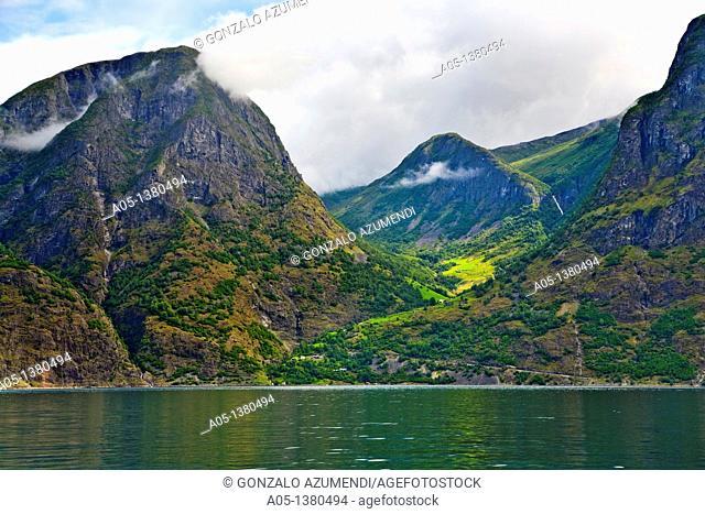 Naeroyfjord Sognefjord branch, Sogn and Fjordane, Norway