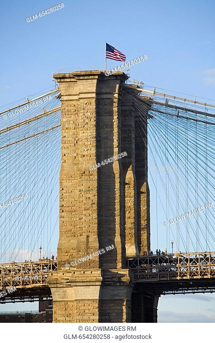 Low angle view of a suspension bridge, Brooklyn Bridge, East River, New York City, New York State, USA