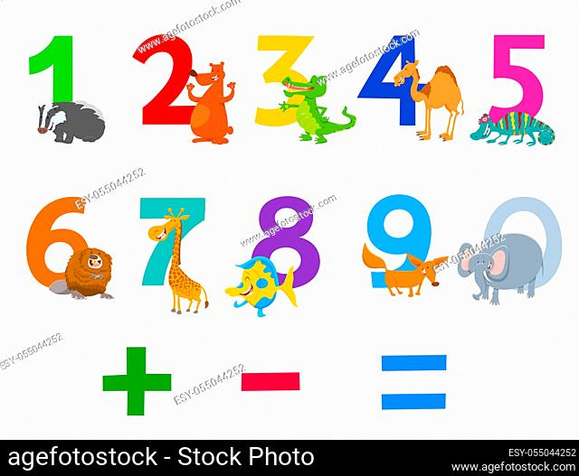 Cartoon Illustration of Numbers Set from Zero to Nine with Happy Wild Animal Characters