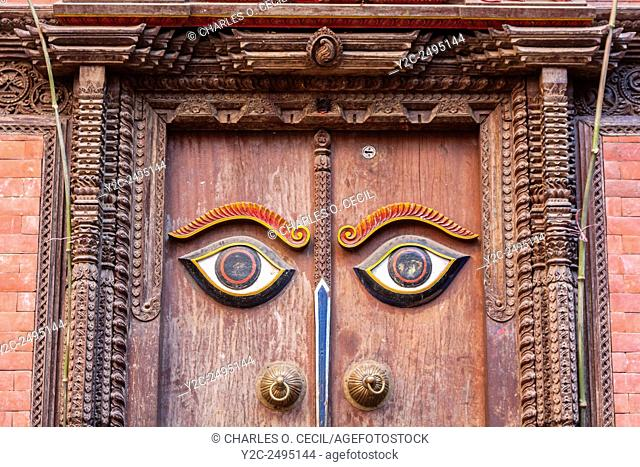 Nepal, Kathmandu. Doorway to Recently Reconstructed Hindu Temple, Tunal Devi Dyochen, Dedicated to Vaisnavi, Female Counterpart to Shiva