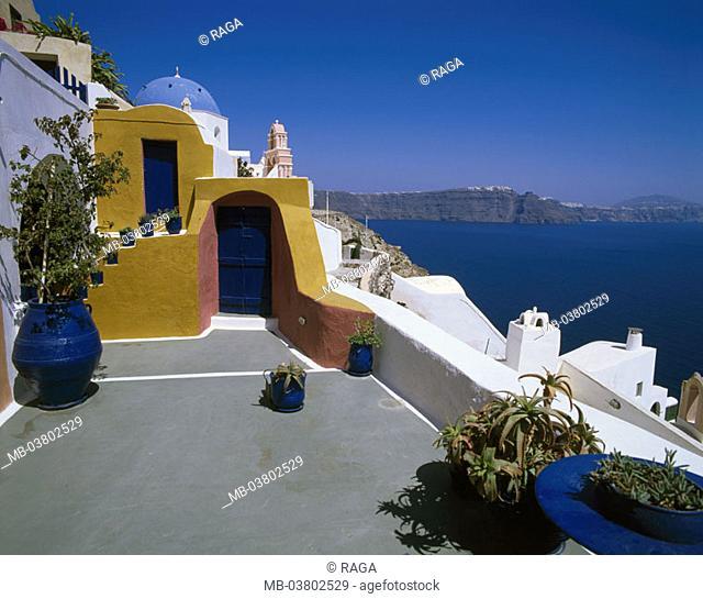 Greece, Kykladen, island Santorin,  Oia, coast, houses, architecture, typical,  colorful, picturesque, sea gaze  Europe, Mediterranean, Aegean, Kykladeninsel
