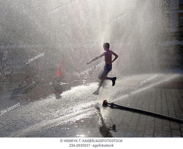 Having fun under water sprayer