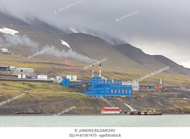 View on the russian town Barentsburg on Svalbard, Norway
