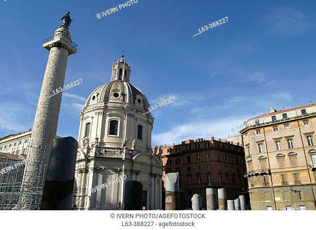 Church of S.S. Nome di Maria with La Colonna Traiana. Rome. Italy