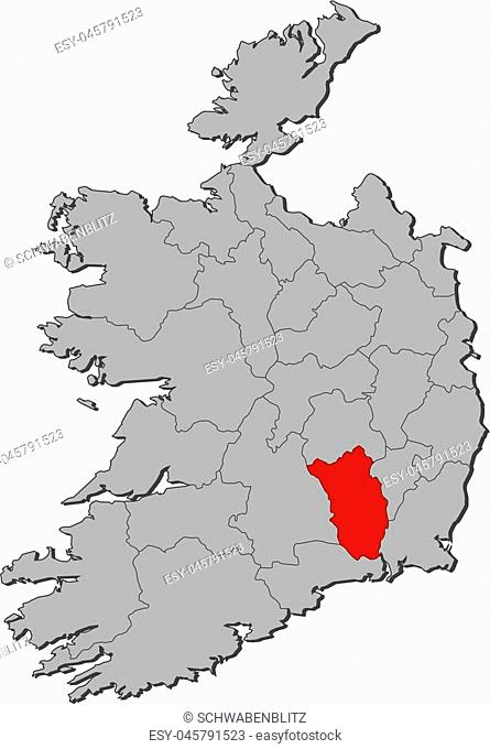 Map of Ireland with the provinces, Kilkenny is highlighted