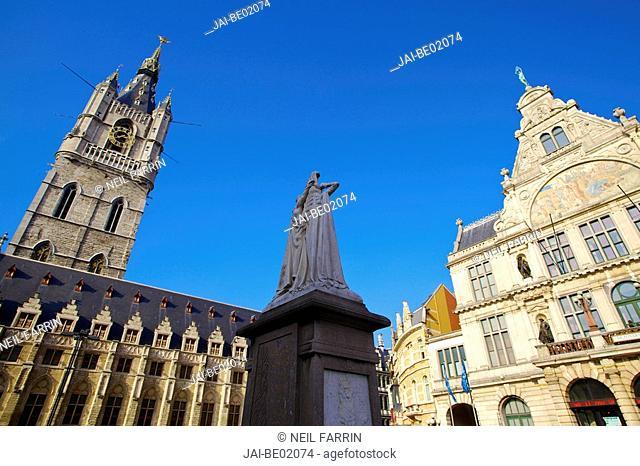 St Baafs Plein, Ghent, Flanders, Belgium