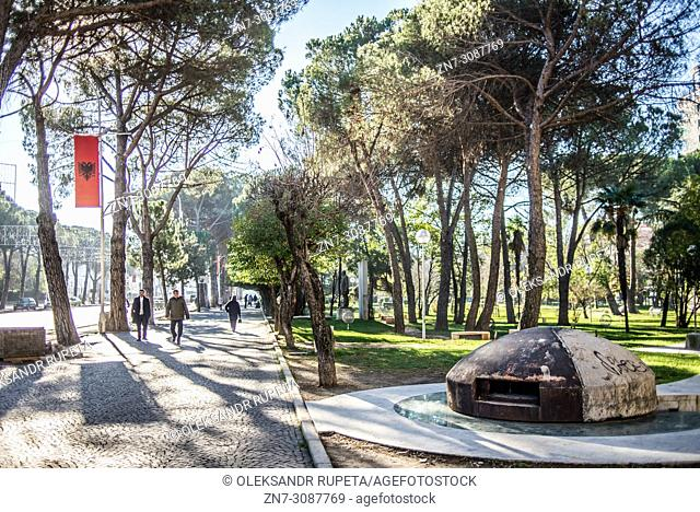 A concrete bunker in the city park in Tirana, Albania