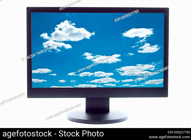 blue sky and clouds on TV screen