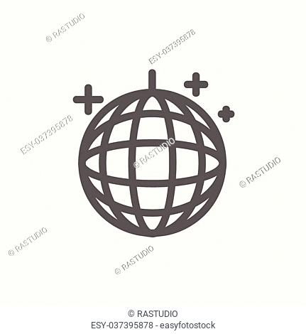 Disco ball icon thin line for web and mobile, modern minimalistic flat design. Vector dark grey icon on light grey background