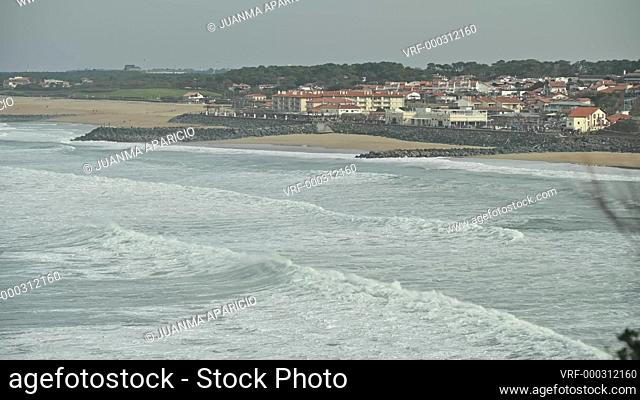 View of Arles coastline from the Lighthouse of Biarritz, Pyrenees Atlantiques, Aquitaine, France