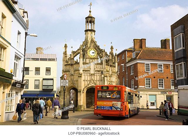England, West Sussex, Chichester, A view of the old Market Cross in East Street