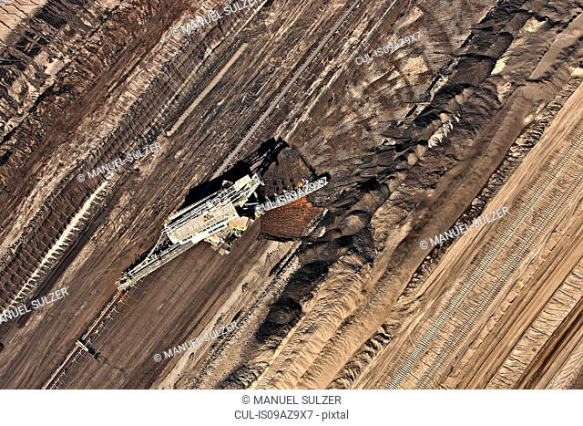 Brown coal mining, aerial view, Lausitz, Brandenburg, Germany