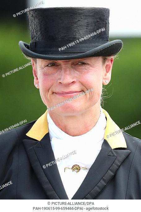 15 June 2019, North Rhine-Westphalia, Balve: Dressage rider Isabell Werth is disappointed after a mistake at the Grand Prix Special in dressage