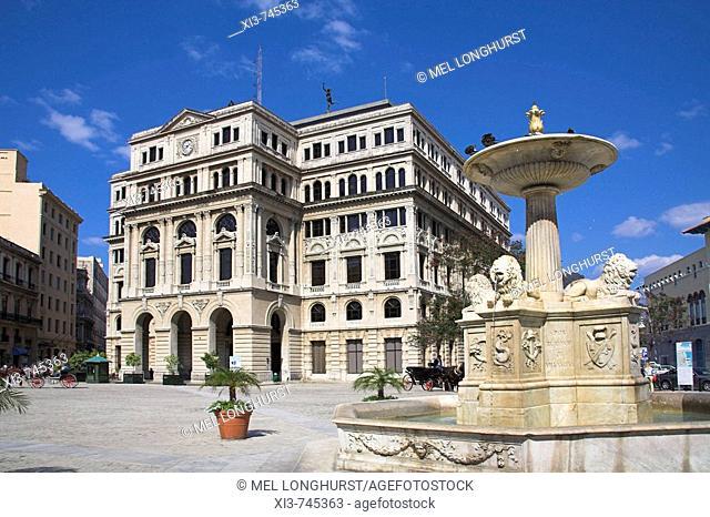 Lonja del Comercio de La Habana, Fountain of Lions, Plaza de San Francisco, Havana, La Habana Vieja, Cuba