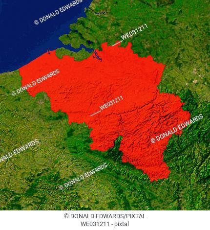 Highlighted satellite image of Belgium