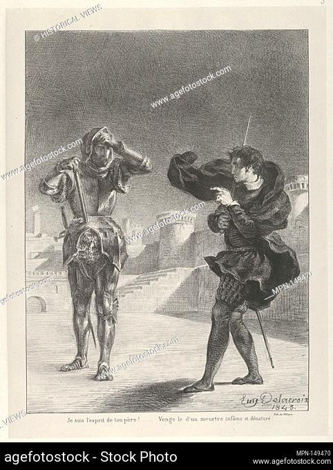 The Ghost on the Terrace. Series/Portfolio: Hamlet, Treize Sujets Dessinés par Eug. Delacroix [Hamlet, Thirteen Subjects Drawn by Eug