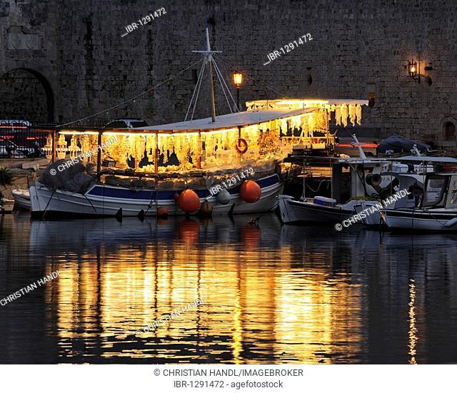 Souvenir shop on a ship in Emborio Harbour, Rhodes Town, Rhodes, Greece, Europe