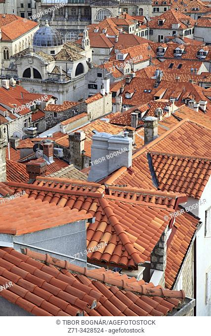 Croatia, Dubrovnik, skyline, elevated view, roofs