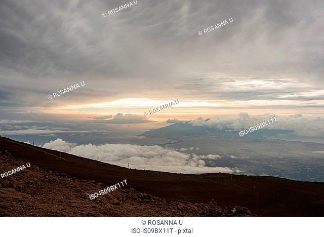 Sunset seen from mountain top, Haleakala, Maui, Hawaii