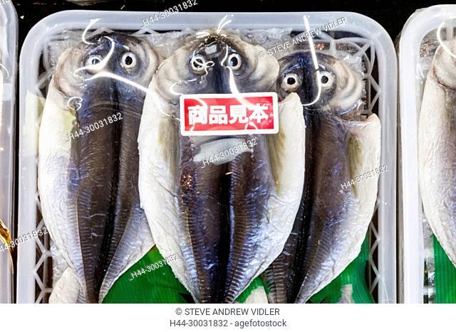 Japan, Honshu, Shizuoka Prefecture, Atami, Heiwa Shopping Street, Dried Fish Display