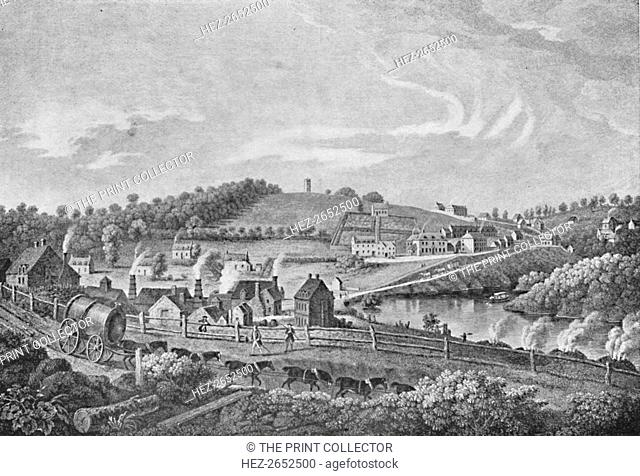 'Coalbrookdale in 1758', 1758, (1904). Coalbrookdale is a village in the Ironbridge Gorge in Shropshire, England, containing a settlement of great significance...