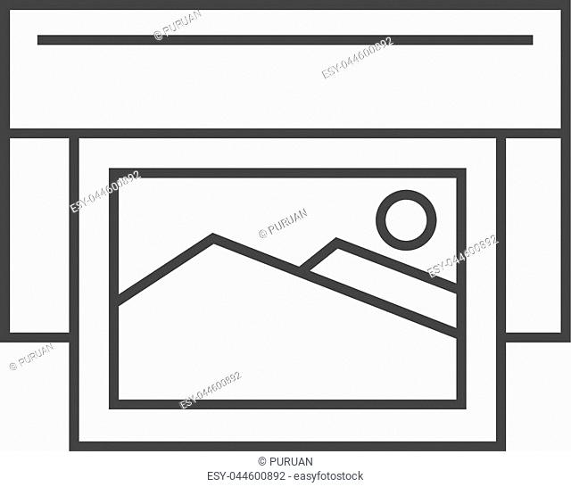 Offset printing icon in thin outline style. Print shop service publisher desktop publishing