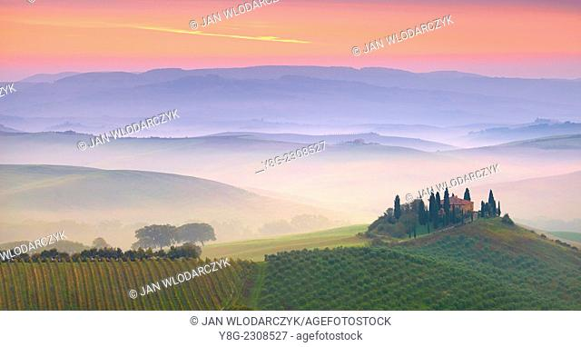 Val d'Orcia at dawn, Tuscany, Italy
