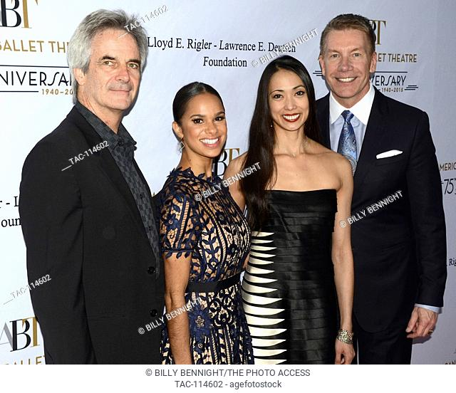 Misty Copeland, (L), Kevin McKenzie (LC), Stella Abrera (RC) and Michael Moser (R) arrives at the American Ballet Theatre 75th Anniversary Holiday Benefit at...