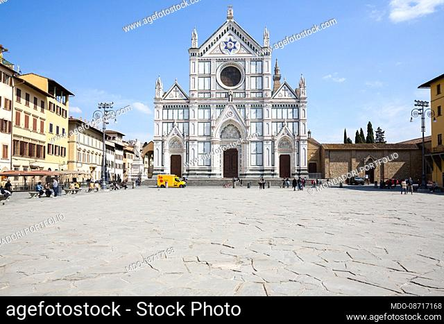 The Basilica of Santa Croce in the homonymous square. Florence (Italy), April 17th, 2021