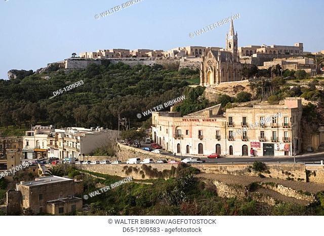Malta, Gozo Island, Mgarr, Church of Our Lady of Lourdes, above the harbor, morning