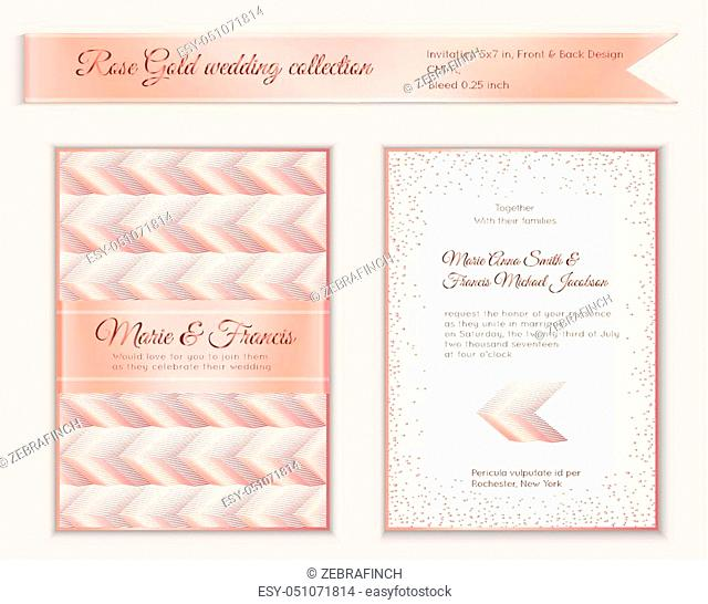 Luxury wedding invitation template with rose gold shiny realistic ribbon. Back and front 5x7 card layout with pink golden pattern on white. Isolated