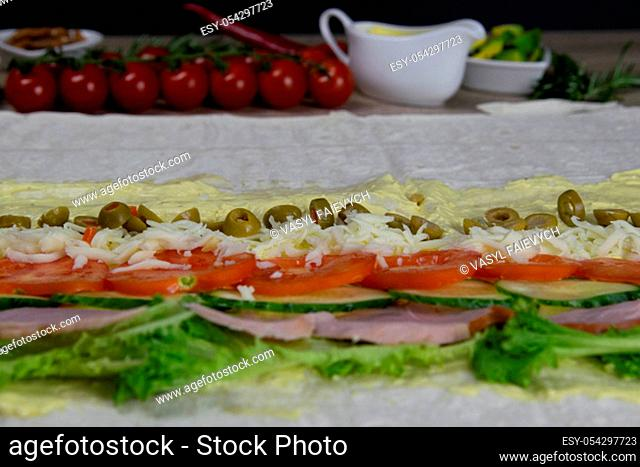 Healthy food on old wooden background. Concept of proper nutrition. Top view. Flat lay