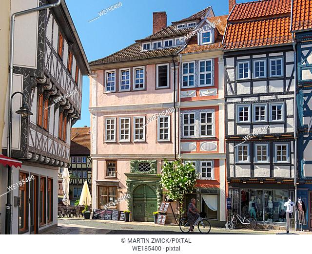 Old town houses buildt with traditionl timber framing at the Marktstrasse. The medieval town and spa Bad Langensalza in Thuringia