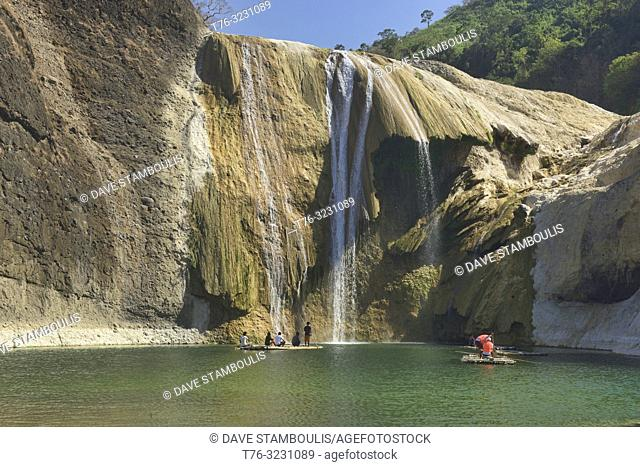 Bamboo raft at beautiful Pinsal Falls, Santa Maria, Ilocos Sur, Philippines