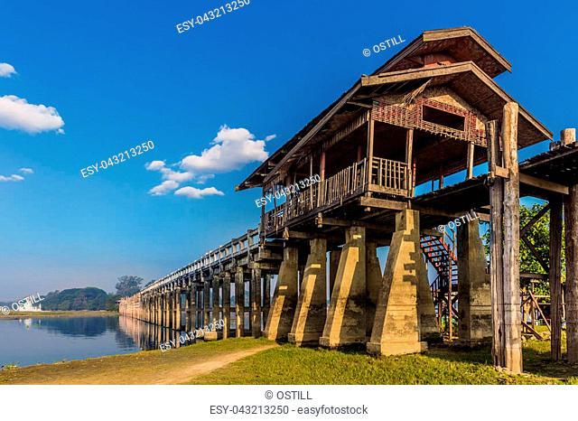 U Bein Bridge Taungthaman Lake Amarapura Mandalay state Myanmar (Burma)