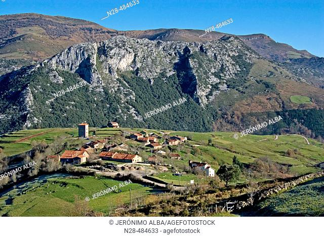 Obeso village in Rionansa region. Saja-Nansa. Cantabria. Spain