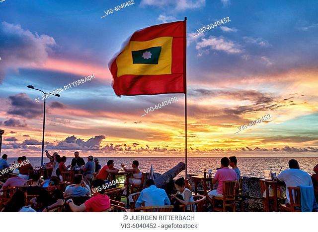 Cartagena flag at sunset at Cafe del Mar, Cartagena de Indias, Colombia, South America - Cartagena de Indias, Colombia, 30/08/2017