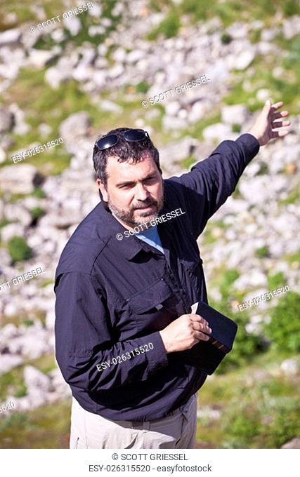 American or European Christian Pastor at Biblical Site in Turkey