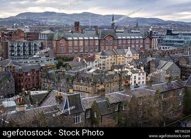 Aerial view from esplanade of Castle in Edinburgh, capital of Scotland, part of OK, Lauriston Campus of University of Edinburgh in the middle