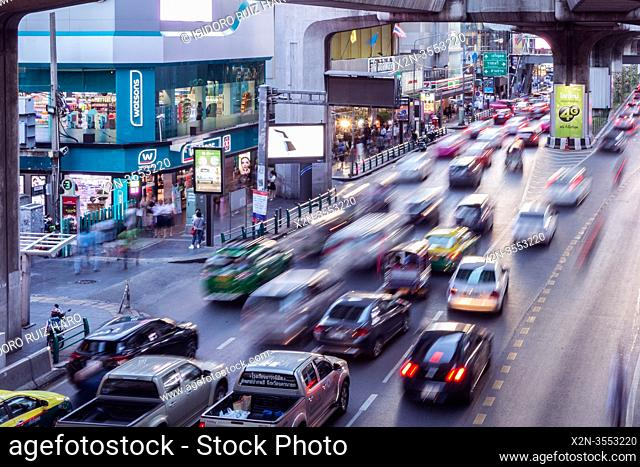 Traffic jump. Siam Square. Bangkok. Thailand