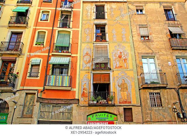 decorated facade, Ciutat Vella, Barcelona, Catalonia, Spain
