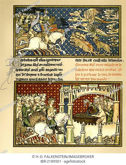 Historical print from the 19th century, facsimile of a manuscript from the 14th century of the Romance of Alexander, the novel-like ancient and medieval...