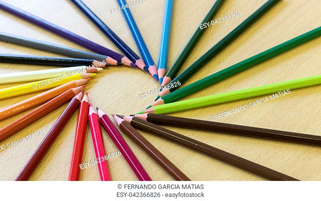 Different shapes with colored pencils
