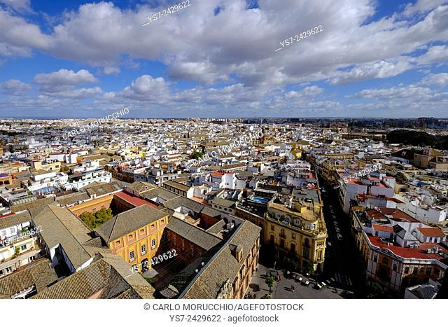 View of Sevilla from Giralda bell tower, Andalusia, Spain