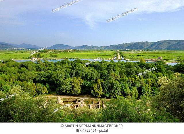 Ancient city Butrint with surroundings, Vivar Canal, Butrint National Park, near Saranda, Qark Vlora, Albania