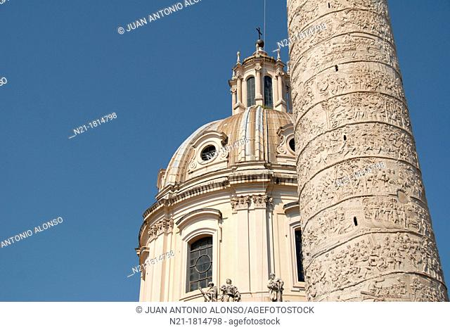 Top of the Chiesa del Santissimo Nome di Maria al Foro Traiano by Antoine Derizet and completed in 1751  In the foreground we see a partial view of the Colonna...