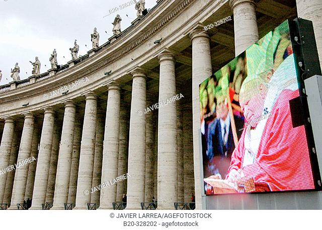 Image of Pope John Paul II at St. Peter's Square. Vatican City, Rome. Italy