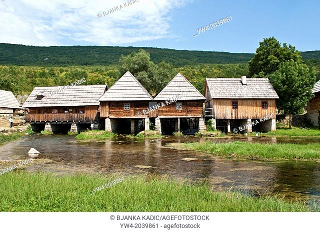 Water mills on Mayer spring, river Gacka, Gacko Polje, Otocac, Lika, Central Croatia