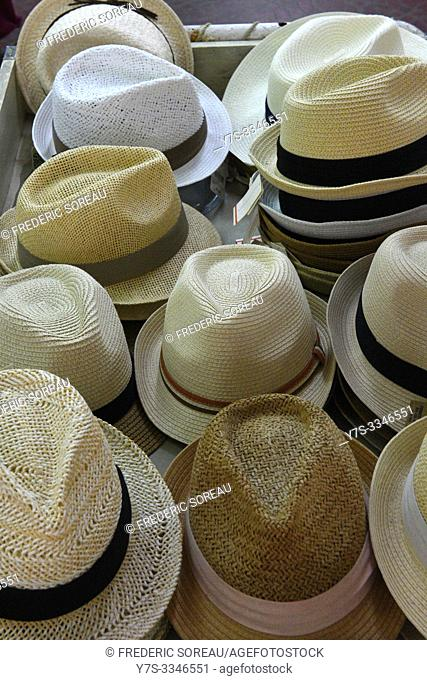 Selection of gent's straw summer hats for sale in Yaeyama islands, Ishigaki-jima, Japan, Asia