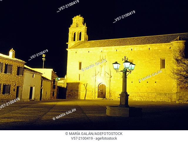 San Juan bautista church, night view. Infante Don Juan Manuel Square, Alarcon, Cuenca province, Castilla La Mancha, Spain